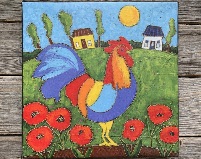 Giclee art canvas print landscape colourful rooster poppy