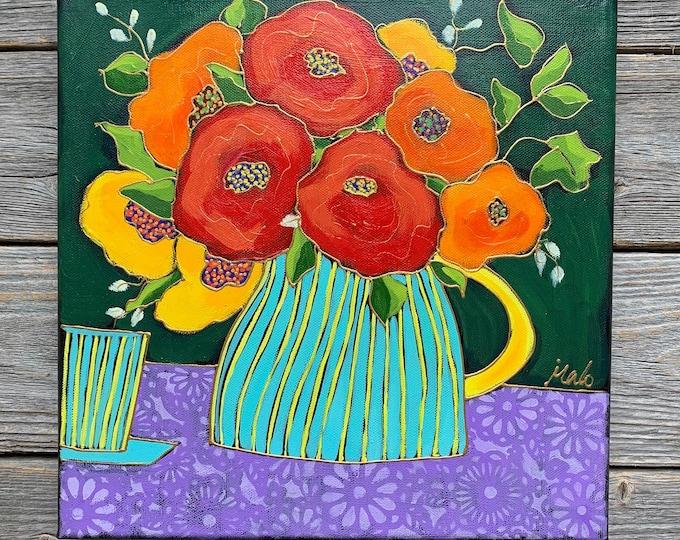Original acrylic painting on canvas red orange yellow flower vase purple