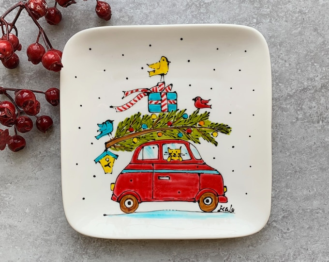 Square porcelain plate hand painted red car Christmas tree cat bird
