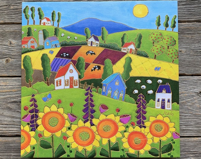 Giclee art canvas print landscape colourful houses sunflower cow sheep