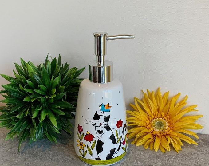 Soap dispenser white porcelain cat flower bird hand painted