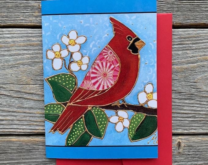 Greeting card birthday card bird red cardinal bird