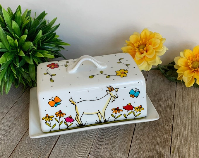 white stoneware Goat Butter dish with lid, Goat lover gift, hand painted, 1 pound of butter, kitchen gift with goat