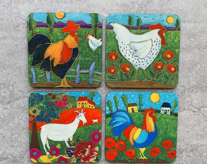 Set of Coasters wood cork rooster hen goat