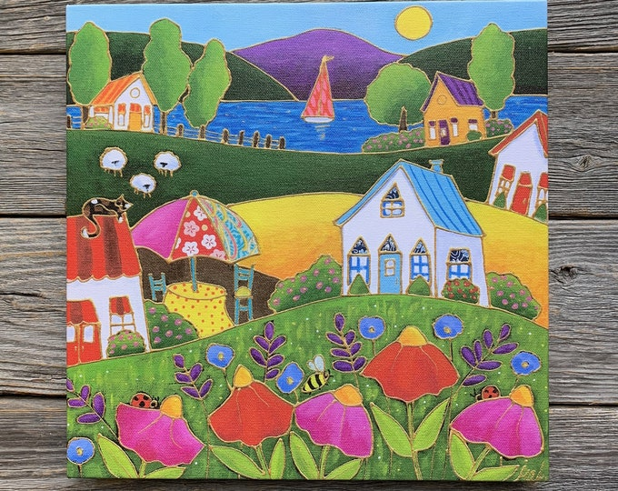 Giclee art canvas print landscape colourful red pink flower cat lake sailboat bee ladybug