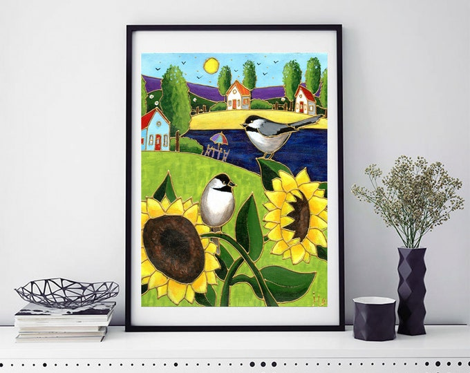 Poster wall decoration sunflower landscape colourful houses chickadee