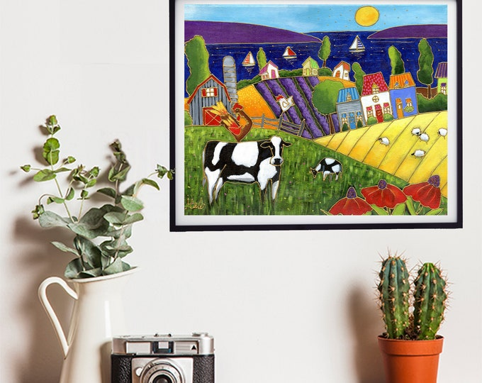 Poster wall decoration country landscape colourful houses farm cow rooster sheep hen lake