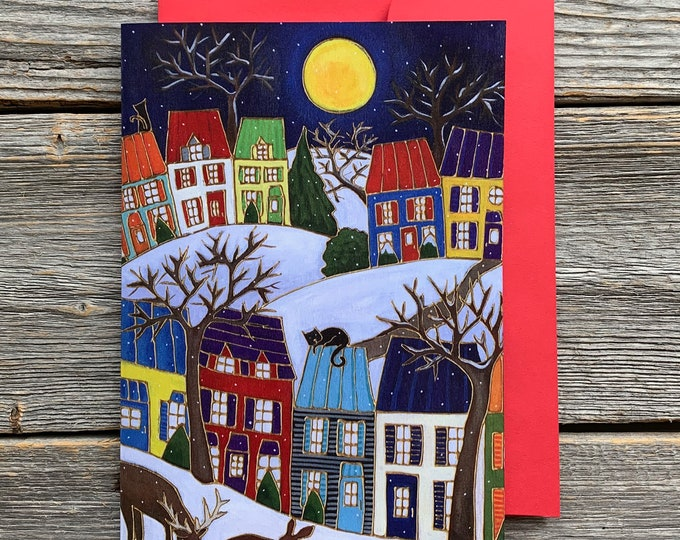 """Greeting card,  2 deer, colourful houses, winter scene, 5"""" x 7"""", by artist Isabelle Malo"""