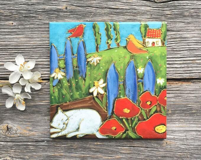 Ceramic tile coaster landscape cat