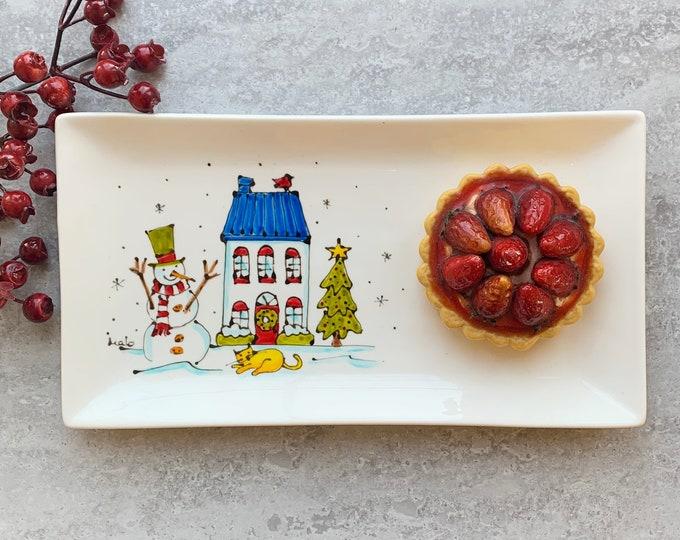 rectangle porcelain plate house snowman cat Christmas tree