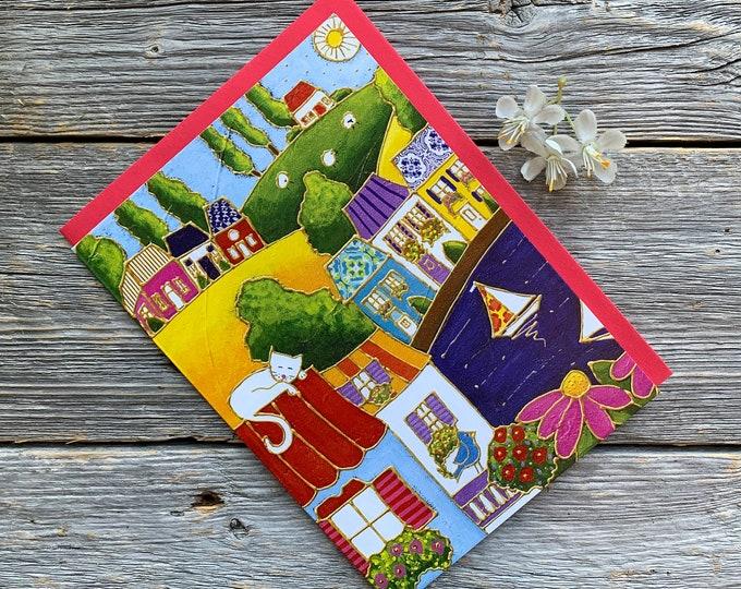 Greeting card colourful house sailboat