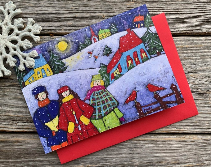 """Greeting card, Christmas Choral singer, winter scene landscape, 5"""" x 7"""", by artist Isabelle Malo"""