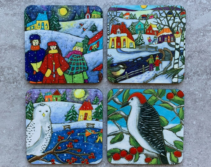 Set of 4 Coasters colourful houses winter scene landscape Christmas singer snowy owl woodpeckers