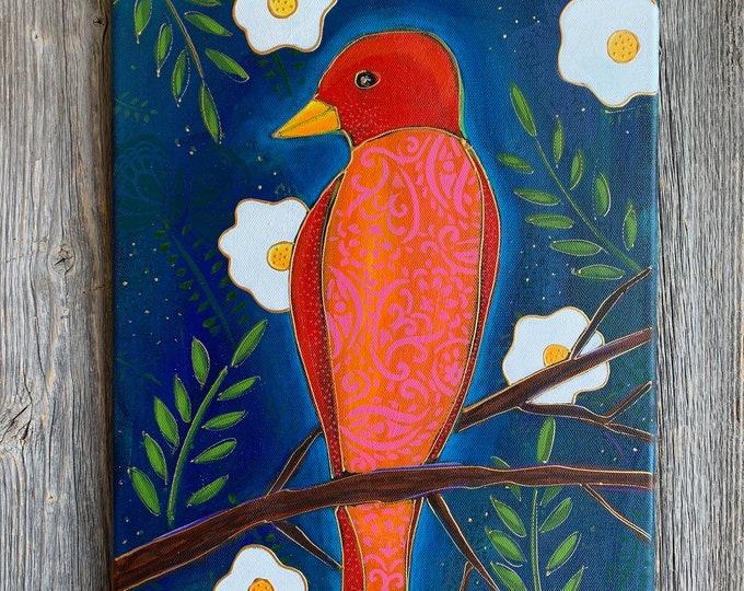 Original acrylic painting orange and red Bird white flower blue background