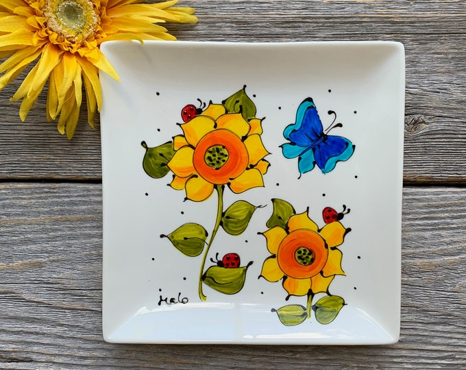 Square porcelain plate hand painted butterfly flower serving tray kitchen decoration