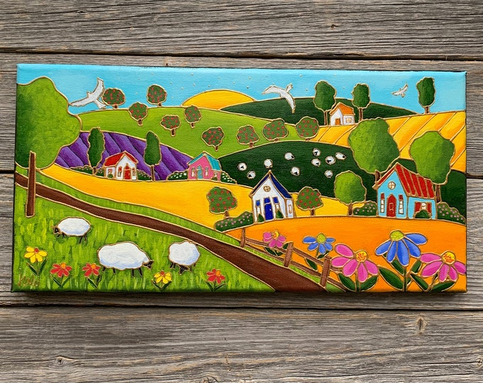 Original acrylic painting on canvas landscape colourful house sheep apple tree flower