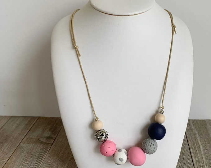 Polymer clay bead necklace pink grey hand made