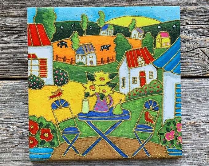 """Ceramic tile, Coaster, Country Landscape, houses, sheep, flowers, raisin, cheese, 4"""" x 4"""", Art print by Isabelle Malo"""