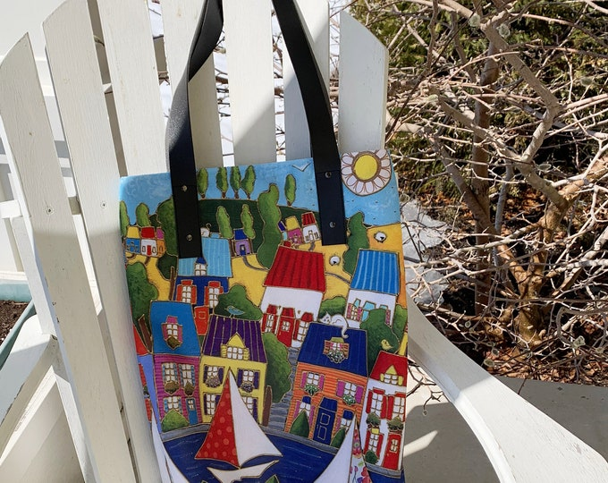 Tote bag, cotton sateen lining with multi pockets, Colourful houses Italy inspiration, Canvas bag, shopping bag, Eco friendly bag