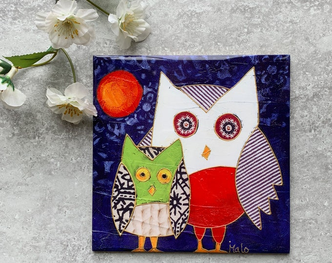 Ceramic tile trivet two owl moon art print ceramic