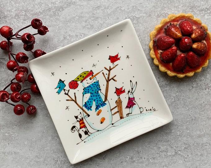Square porcelain plate hand painted snowman cat rabbit bird