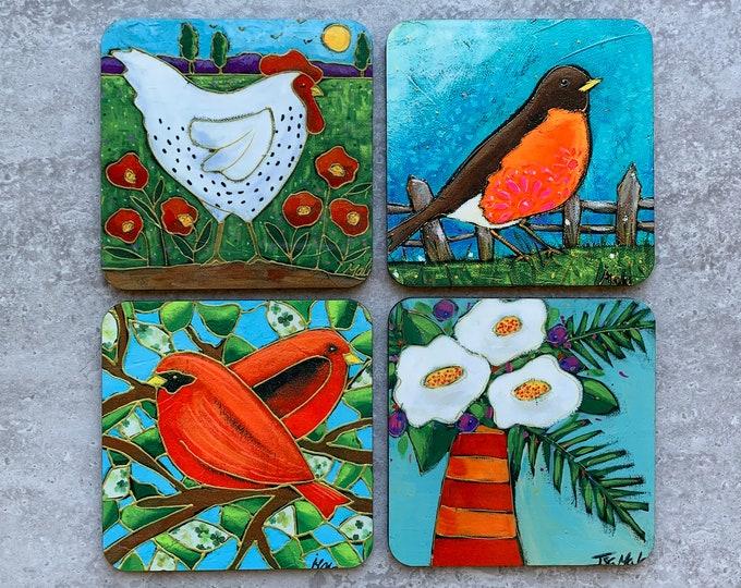 Set of Coasters wood cork hen red bird flower American robin