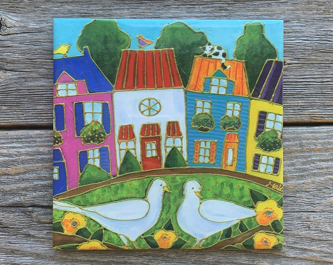 Ceramic tile trivet white dove colourful house