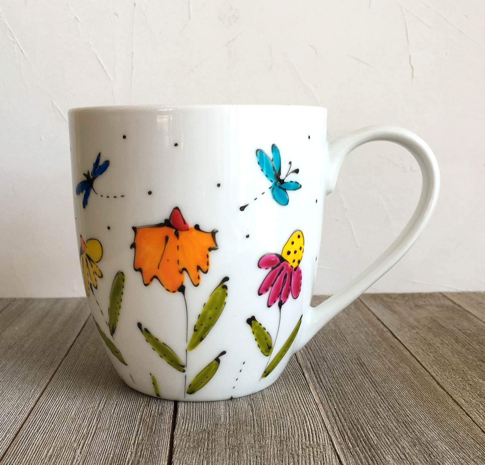 fb0c8d9233d Flower coffee mug tall, Porcelain, flowers and dragonfly, 16 oz, tea ...