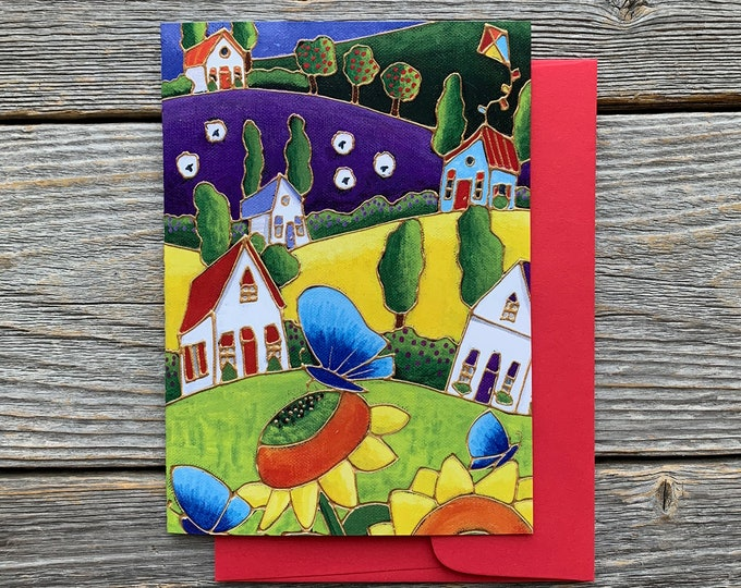 Greeting card  colourful houses landscape sunflower blue butterfly sheep kite