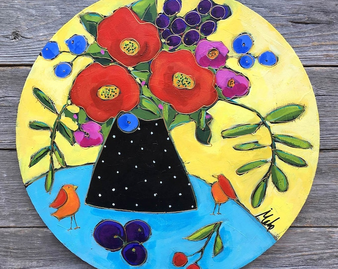 Original acrylic painting on canvas flower vase