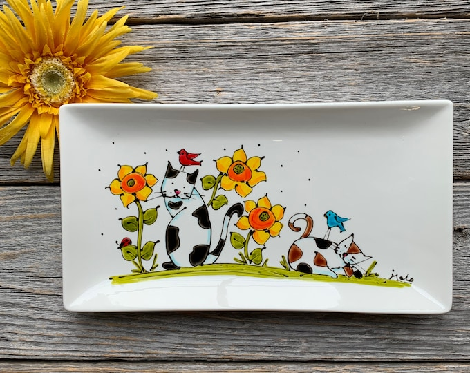 rectangle porcelain plate cat family small tray kitchen hand paint