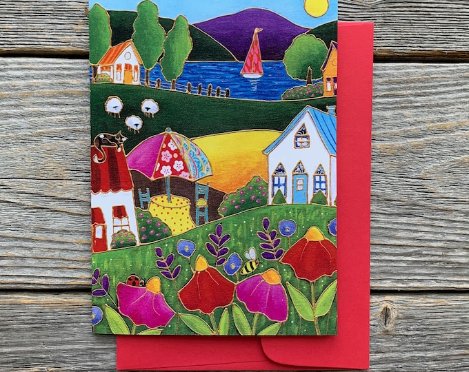 Greeting card colourful house red and pink flower lake and sailboat cat bee ladybug