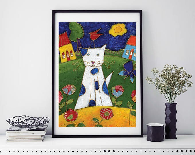Cat Poster, Cat Art print, children room gift, cat wall decoration, baby shower gift, cat lover gift, cat children decoration, cat gift