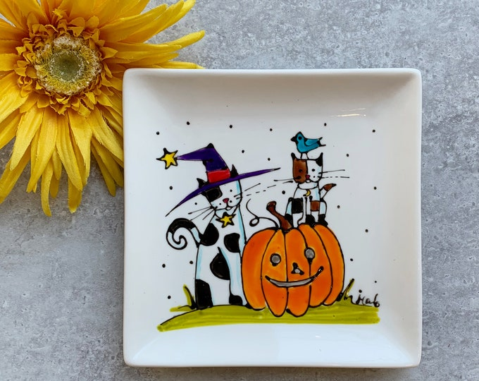 Small square plate white porcelain or spoon holder cat pumpkin blue bird hand paint