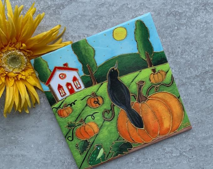 Ceramic tile square trivet landscape black crow pumpkins art print ceramic