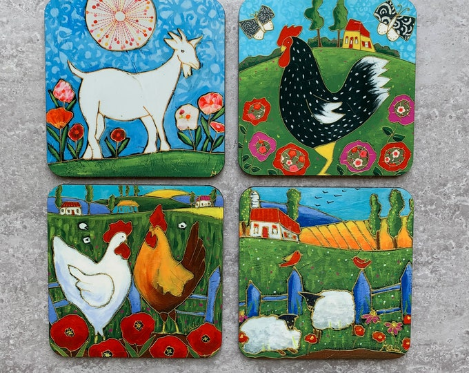 Set of Coasters wood cork rooster hen sheep goat