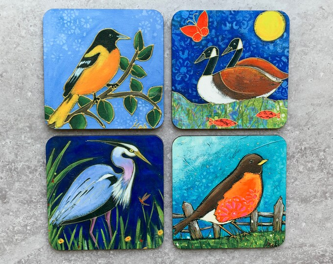Set of Coasters wood cork great blue heron goose duck Baltimore oriole american robin