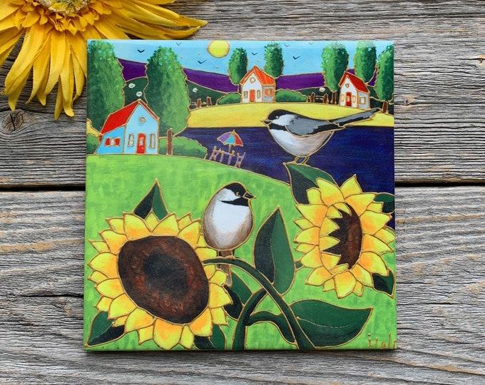 Ceramic tile square trivet landscape chickadee sunflowers art print ceramic