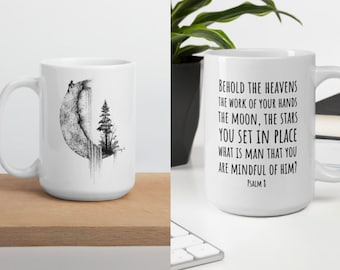 "Coffee Mug: Moon Hike Drawing, ""Mindful of Man"" Quote Psalm 8, Art print, Inspirational scripture, fall mug, personalizable, cottagecore"