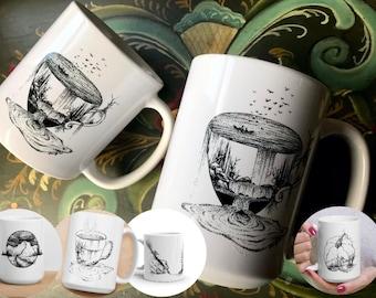 Personalized Coffee Mug, Add Text / Words, Customized, Fall Mug, Art Mug, Coffee Art, Drawing Print, Art Print, Personalized Gift