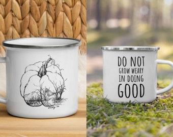 Camping Coffee Mug, Harvest Hills Pumpkin Drawing Print, Pumpkin Mug, Fall Mug, Scripture mug, Inspirational mug, Enamel Mug, Campfire Mug