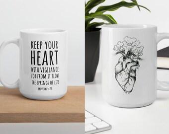 "Coffee Mug, Heart Like Mine Original Drawing W/ ""Keep Your Heart"" Quote Proverbs 4:23, inspirational scripture mug, fall mug, personalizable"