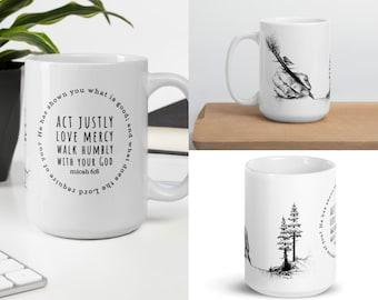 "Coffee Mug: The Write Way Original Drawing With ""Walk Humbly With God"" Quote, Micah 6, Inspirational, Scripture mug, fall mug, cottagecore"