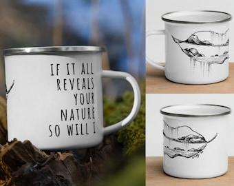 Camping Coffee Mug, Inspirational Mug, Worship Song Mug, Worship Lyrics, Nature Mug, So Will I, Enamel Mug, campfire mug, fall mug