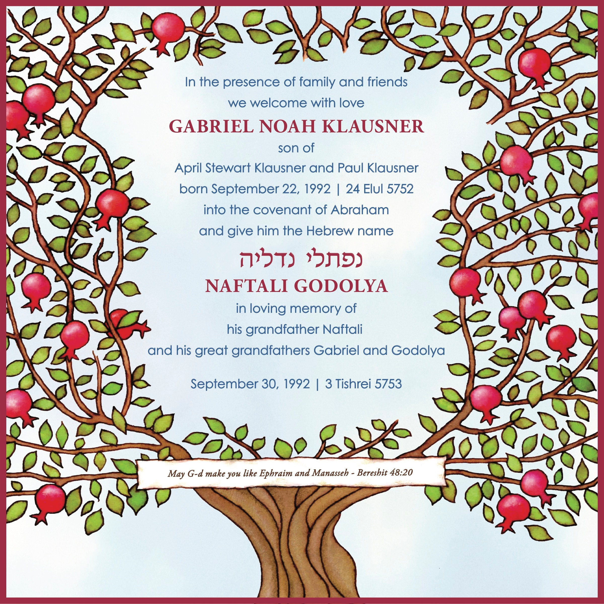Archival Print from Original Art Baby Naming Certificate with Pomegranate Border