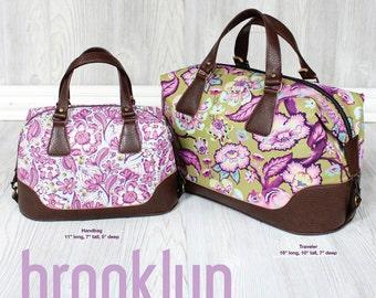 Swoon Patterns: Brooklyn Handbag & Traveler - PDF Vintage Purse Tote Handbag Sewing Pattern