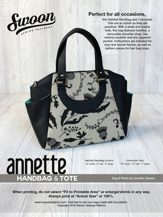 Swoon Patterns: Annette Satchel Handbag & Commuter Tote PDF