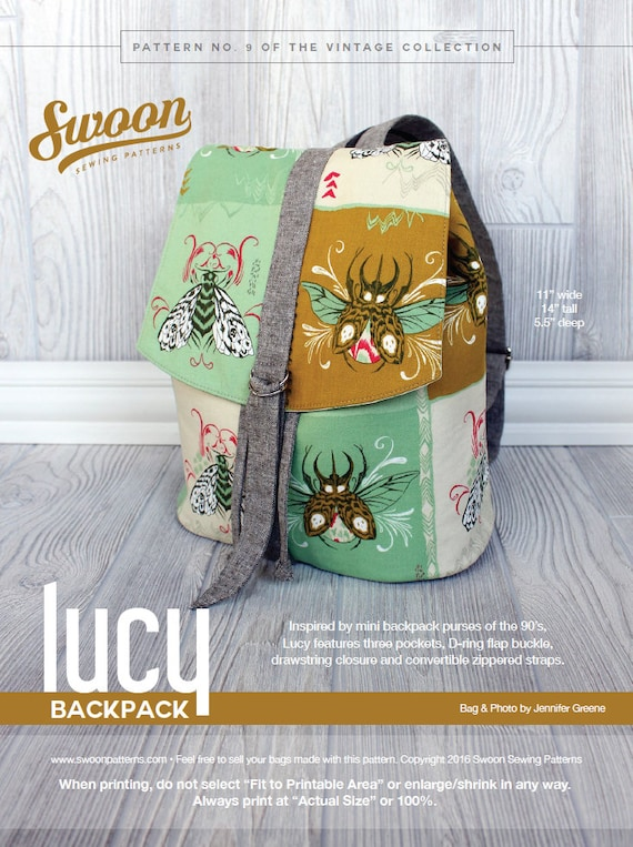 Swoon Patterns: Lucy Backpack PDF Vintage Purse Backpack Bag | Etsy
