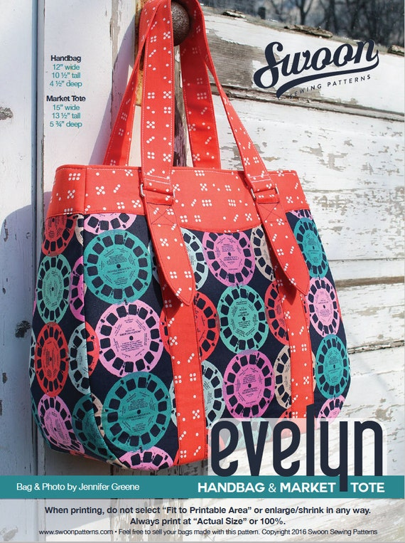 Swoon Patterns: Evelyn Tote & Handbag PDF Tote Bag Purse | Etsy