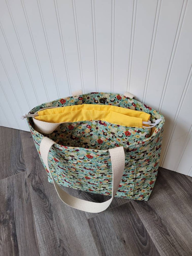 slip pockets floral print Set of 2 adorable matching bags Large Canvas ToteShoulder Bag PLUS Large Project Drawstring Bag